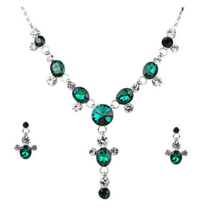 Tiptop Fashions  Green Austrian Stone Rhodium Plated Necklace Set  -  Imitation Jewellery - 1102827 - 11028