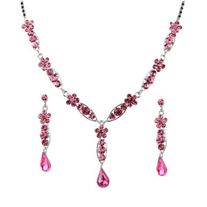 Tiptop Fashions  Pink Austrian Stone Rhodium Plated Necklace Set  -  Imitation Jewellery - 1102828 - 11028