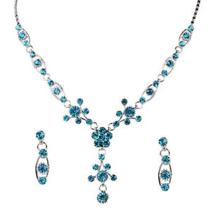 Tiptop Fashions  Blue Austrian Stone Silver Plated Necklace Set  -  Imitation Jewellery - 1102829 - 11028
