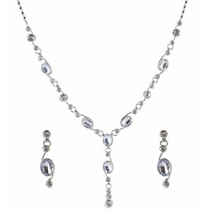 Tiptop Fashions  Austrian Stone Rhodium Plated Necklace Set  -  Imitation Jewellery - 1102830 - 11028