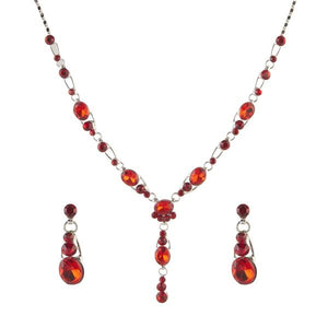 Tiptop Fashions  Red Austrian Stone Rhodium Plated Necklace Set - Tiptop Fashions