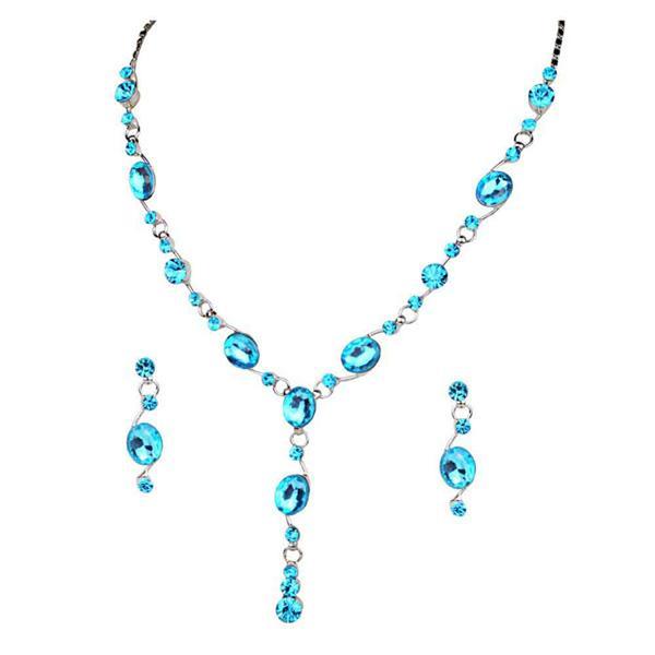 Tiptop Fashions  Blue Austrian Stone Rhodium Plated Necklace Set  -  Imitation Jewellery - 1102835 - 11028