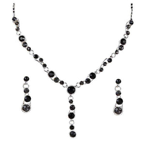 Tiptop Fashions  Black Austrian Stone Rhodium Plated Necklace Set  -  Imitation Jewellery - 1102843 - 11028
