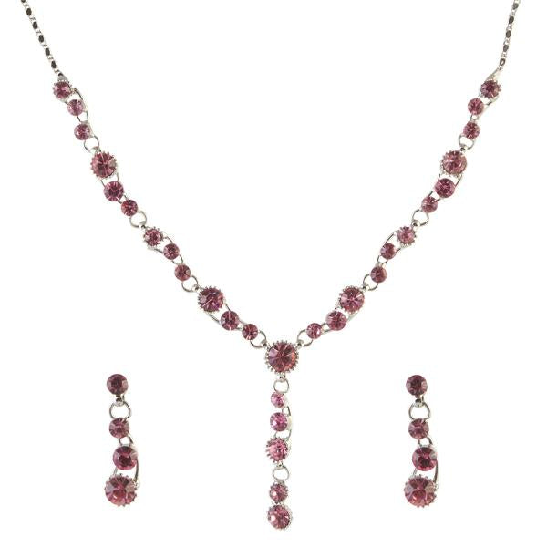 Tiptop Fashions  Pink Austrian Stone Rhodium Plated Necklace Set - Tiptop Fashions