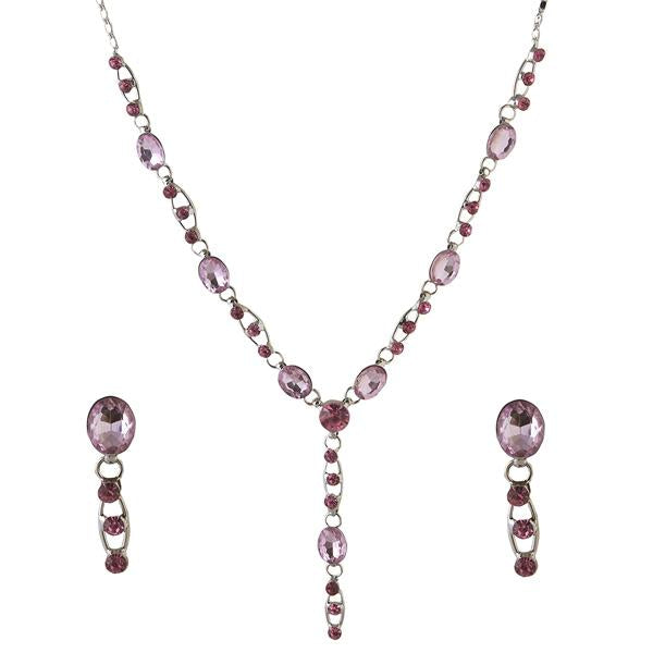 Tiptop Fashions  Pink Austrian Stone Rhodium Plated Necklace Set  -  Imitation Jewellery - 1102846 - 11028