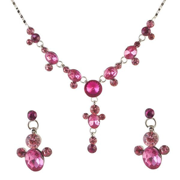 Tiptop Fashions  Pink Austrian Stone Rhodium Plated Necklace Set  -  Imitation Jewellery - 1102847 - 11028