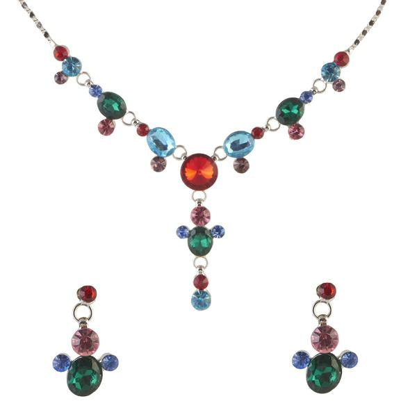 Tiptop Fashions  Multicolor Austrian Stone Rhodium Plated Necklace Set - Tiptop Fashions