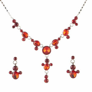 Tiptop Fashions  Orange Austrian Stone Rhodium Plated Necklace Set  -  Imitation Jewellery - 1102849 - 11028