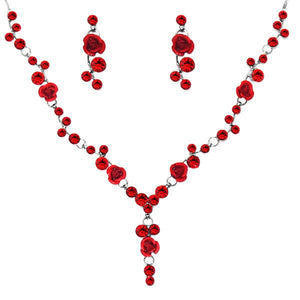 Tiptop Fashions  Red Austrian Stone Rhodium Plated Necklace Set  -  Imitation Jewellery - 1102850 - 11028