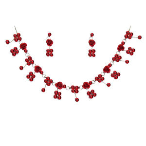 Tiptop Fashions  Red Austrian Stone Floral Design Necklace Set  -  Imitation Jewellery - 1102853 - 11028