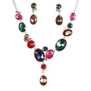 Tiptop Fashions  Gold Plated Multicolour Austrian Stone Necklace Set - Tiptop Fashions