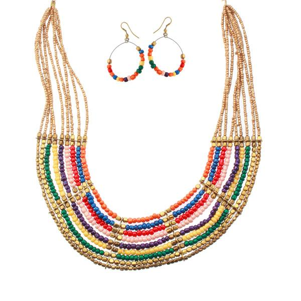 Tiptop Fashions  Multi Beads Classy Necklace Set  -  Imitation Jewellery - 1103102 - 11031