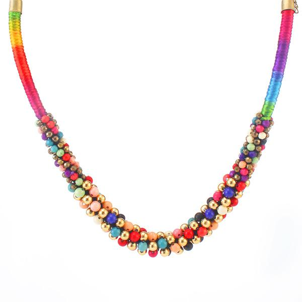 Tiptop Fashions  Gold Plated Multicolor beads Necklace Set  -  Imitation Jewellery - 1103203 - 11032