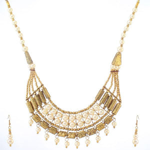Tiptop Fashions  Pearl Antique Gold Necklace Set  -  Imitation Jewellery - 1103411 - 11034