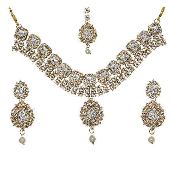 Tiptop Fashions  Charms Glass Stone Necklace Set With Maang Tikka  -  Imitation Jewellery - 1103620 - 11036