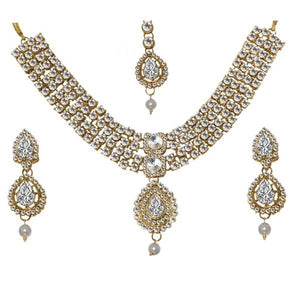 Tiptop Fashions  Charms Stone Pearl Necklace Set With Maang Tikka  -  Imitation Jewellery - 1103622 - 11036