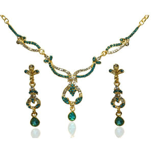 Tiptop Fashions  Blue Austrian Stone Gold Plated Necklace Set  -  Imitation Jewellery - 1103907 - 11039