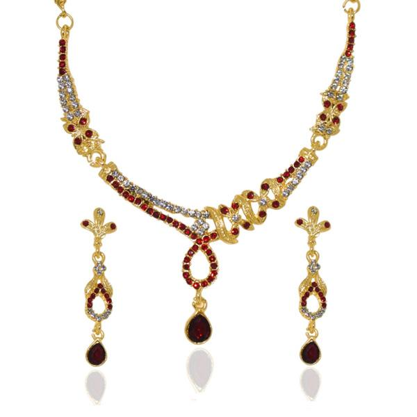 Tiptop Fashions  Red Austrian Stone Gold Plated Necklace Set  -  Imitation Jewellery - 1103913 - 11039