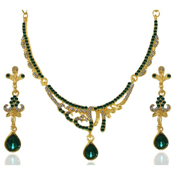 Tiptop Fashions  Green Austrian Stone Gold Plated Necklace Set  -  Imitation Jewellery - 1103935 - 11039