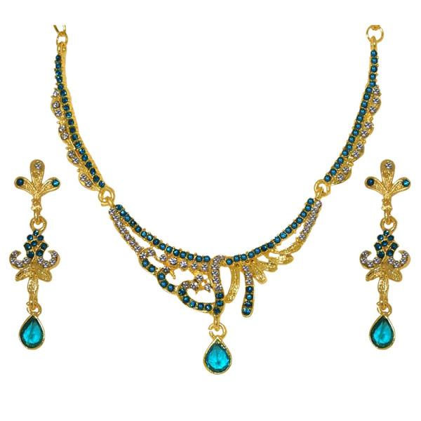 Tiptop Fashions  Blue Austrian Stone Gold Plated Necklace Set  -  Imitation Jewellery - 1103938 - 11039