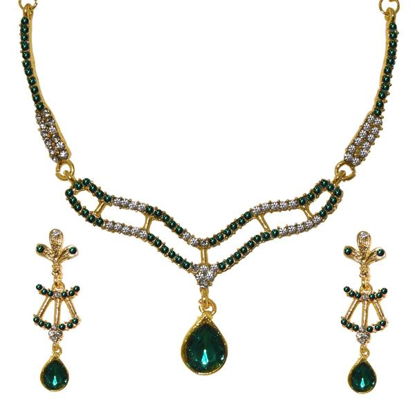Tiptop Fashions  Green Austrian Stone Gold Plated Necklace Set  -  Imitation Jewellery - 1103944 - 11039
