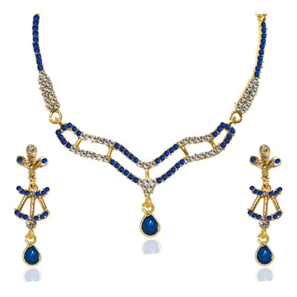 Tiptop Fashions  Blue Austrian Stone Gold Plated Necklace Set  -  Imitation Jewellery - 1103945 - 11039