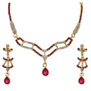 Tiptop Fashions  Pink Austrian Stone Gold Plated Necklace Set  -  Imitation Jewellery - 1103946 - 11039