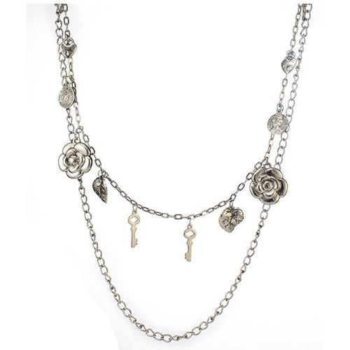 Tiptop Fashions Double Chain Silver Plated  Statement Necklace - 1104118