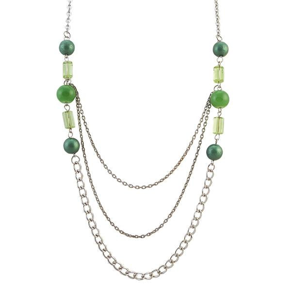 Tiptop Fashions  Beads Green Rhodium Chain Necklace Set  -  Imitation Jewellery - 1104141 - 11041