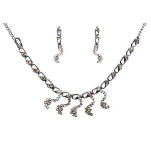 Tiptop Fashions  White Austrian Stone Rhodium Plated Necklace Set  -  Imitation Jewellery - 1104201 - 11042