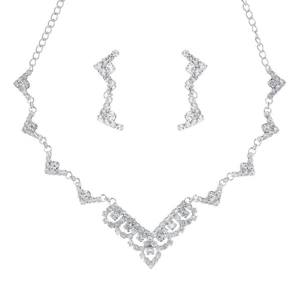 Tiptop Fashions  Austrian Stone Silver Plated Necklace Set  -  Imitation Jewellery - 1104307 - 11043