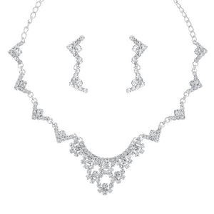 Tiptop Fashions  Silver Plated Austrian Stone Necklace Set  -  Imitation Jewellery - 1104308 - 11043