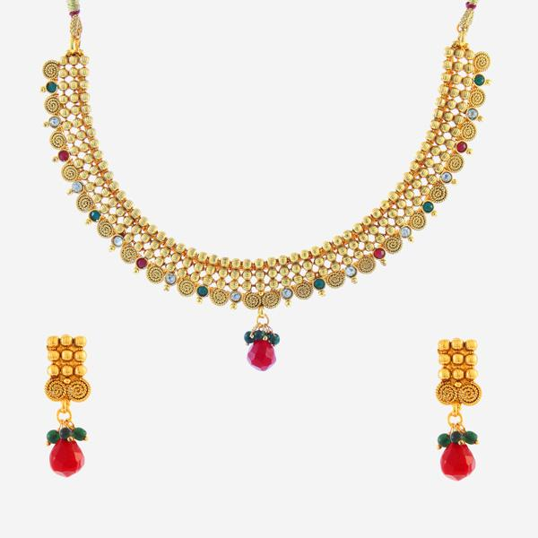 Tiptop Fashions  Red Austrian Stone Gold Plated Necklace Set - Tiptop Fashions
