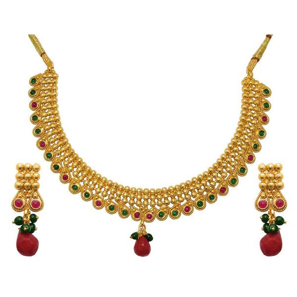Tiptop Fashions  Red Austrian Stone Gold Plated Necklace Set  -  Imitation Jewellery - 1104504 - 11045