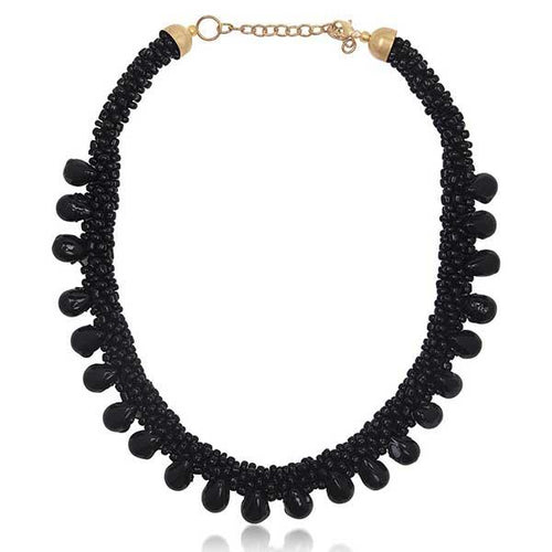 Tiptop Fashions Black Beads Fusion Necklace - 1104702