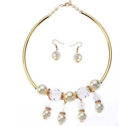 Tiptop Fashions  White Pearl Gold Plated Statement Necklace Set  -  Imitation Jewellery - 1106016 - 11060