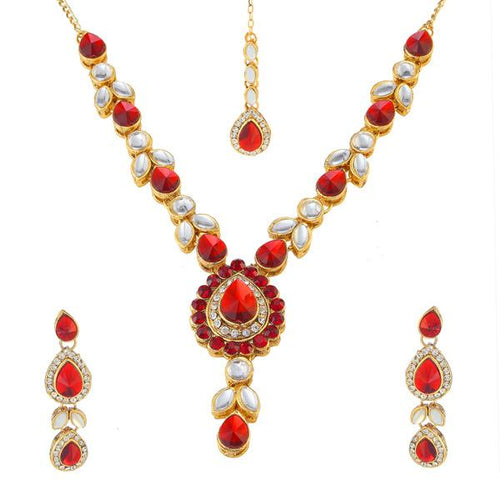 Tiptop Fashions  Red Kundan Necklace Set With Maang Tikka  -  Imitation Jewellery - 1106202b - 11062