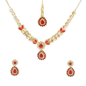 Tiptop Fashions  Maroon Kundan Necklace Set With Maang Tikka  -  Imitation Jewellery - 1106205b - 11062