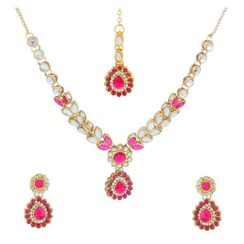 Tiptop Fashions  Pink Kundan Necklace Set With Maang Tikka  -  Imitation Jewellery - 1106205c - 11062