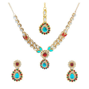 Tiptop Fashions  Blue Kundan Necklace Set With Maang Tikka  -  Imitation Jewellery - 1106205d - 11062