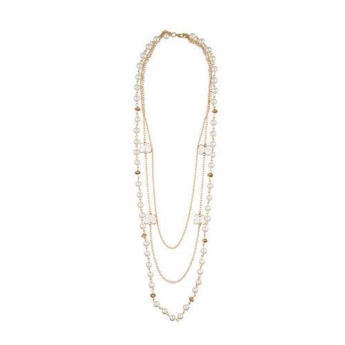 Tiptop Fashions  Gold Plated Pearl Fusion Necklace  -  Imitation Jewellery - 1107013 - 11070