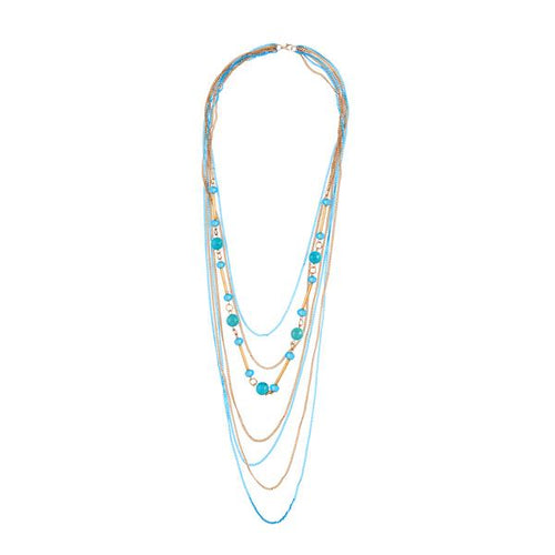 Tiptop Fashions  Beads Multi Layer Chain Gold Plated Fusion Necklace  -  Imitation Jewellery - 1107019 - 11070