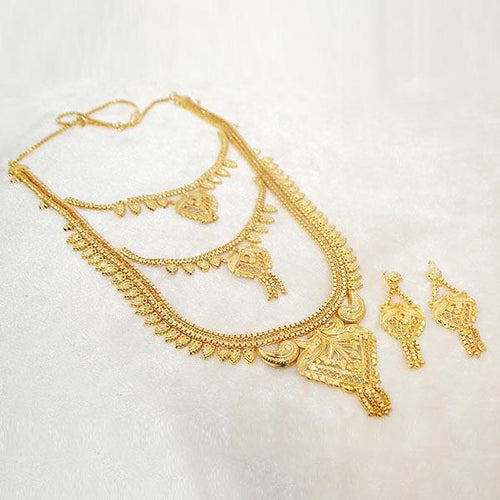 Tip Top Fashions Brass Forming Gold Plated Necklace Set - 1108120