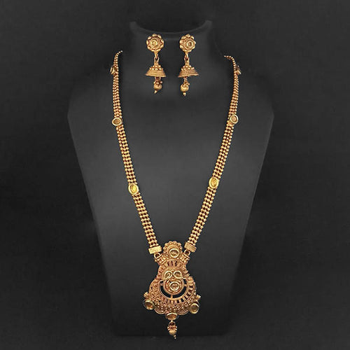 Tip Top Fashions Brown Kundan Necklace Set - 1109851A