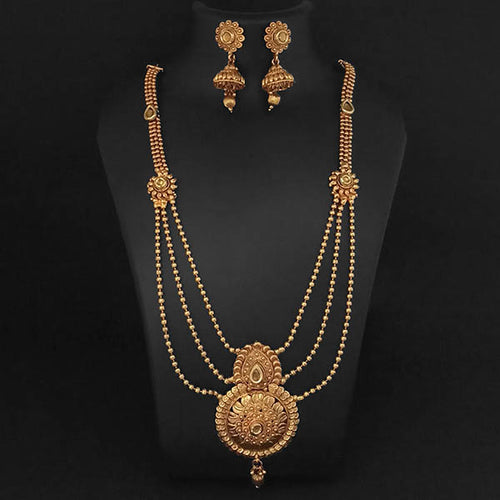 Tip Top Fashions Brown Kundan Necklace Set - 1109852A