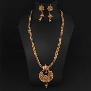 Tip Top Fashions Brown Kundan Necklace Set - 1109853A