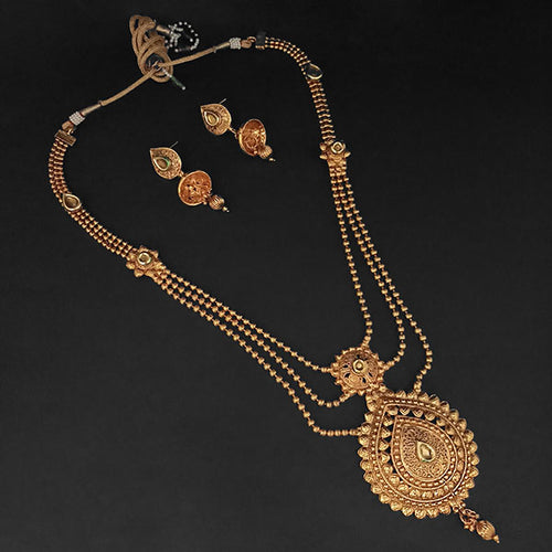 Tip Top Fashions Brown Kundan Necklace Set - 1109856