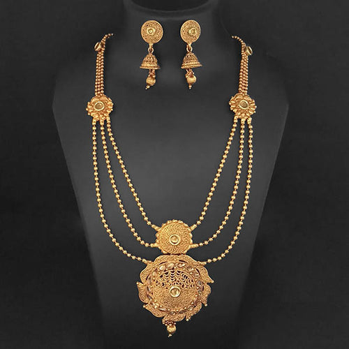 Tip Top Fashions Brown Kundan Necklace Set - 1109859A