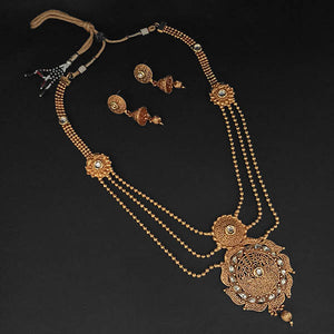 Tip Top Fashions White Kundan Necklace Set - 1109859B