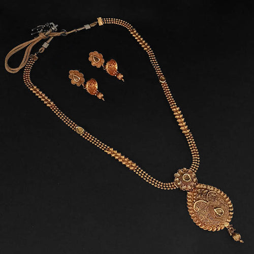 Tip Top Fashions Brown Kundan Necklace Set - 1109864A